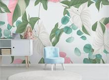 Private custom Nordic hand-painted tropical plants flowers and birds TV sofa living room bedroom background wallpaper mural