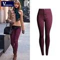 Mulher Lápis Ocasional Vermelho Escuro Denim Stretch Jeans Skinny 2016 Primavera Moda Feminina Plus Size Calças Jeans Skinny Para As Mulheres
