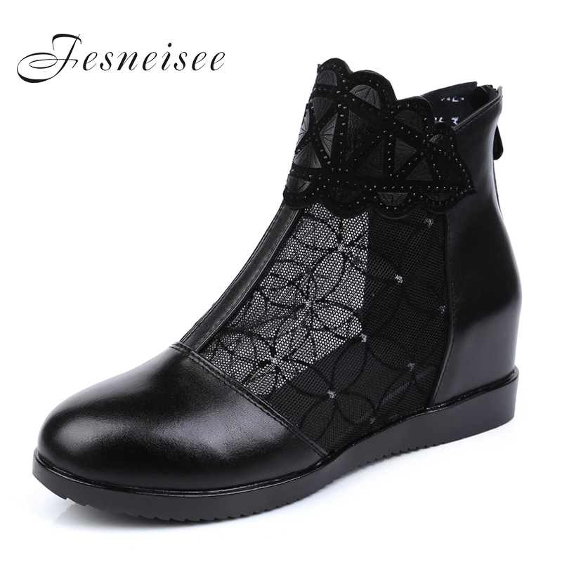 FESNEISEE Summer New Black Lace Genuine Leather Shoes Women Sandals Hollow Mesh Women Boots Large Size Comfortable Women Shoes 2018 new summer casual genuine leather hollow flat shoes green black women shoes comfortable and breathable hole shoes obuv