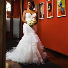 Mermaid Wedding Dress Bridal Gowns South African Sweetheart Lace Appliques Ruffle Plus Size Wedding Dresses ruffle trim bowknot plus size printed dress