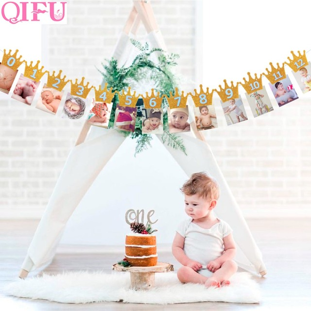 QIFU Baby First Birthday Banner Flag Monthly ONE Year Bunting - first birthday banner