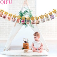 QIFU First Birthday Banner Garlands One Year Old Baby Shower Boy 1st 1 Happy Decor