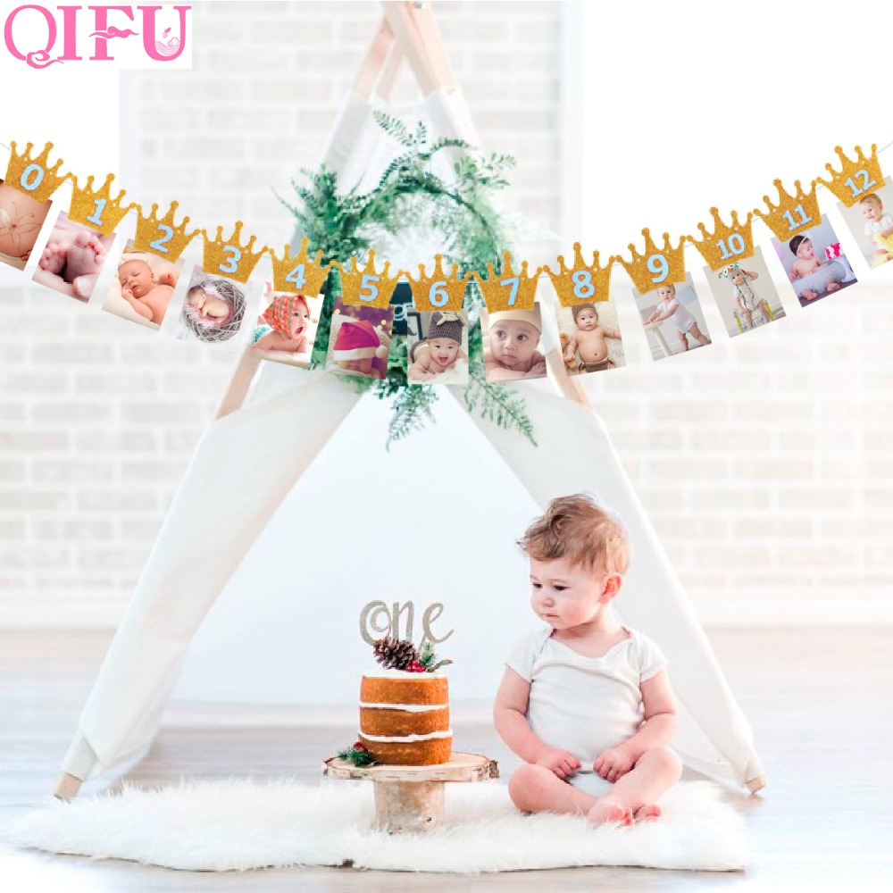 QIFU Baby First Birthday Banner Flag Monthly ONE Year Bunting Garland Baby Shower Boy Girl 1st Birthday Party Decorations Kids