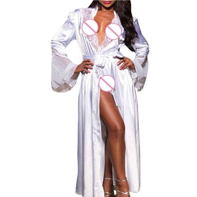 b54b3475fc Women Sexy Long Silk Kimono Lingerie Dressing Gown Babydoll Lingerie Bath Robe  Nightgown Sleepwear Nightwear Belt Trans