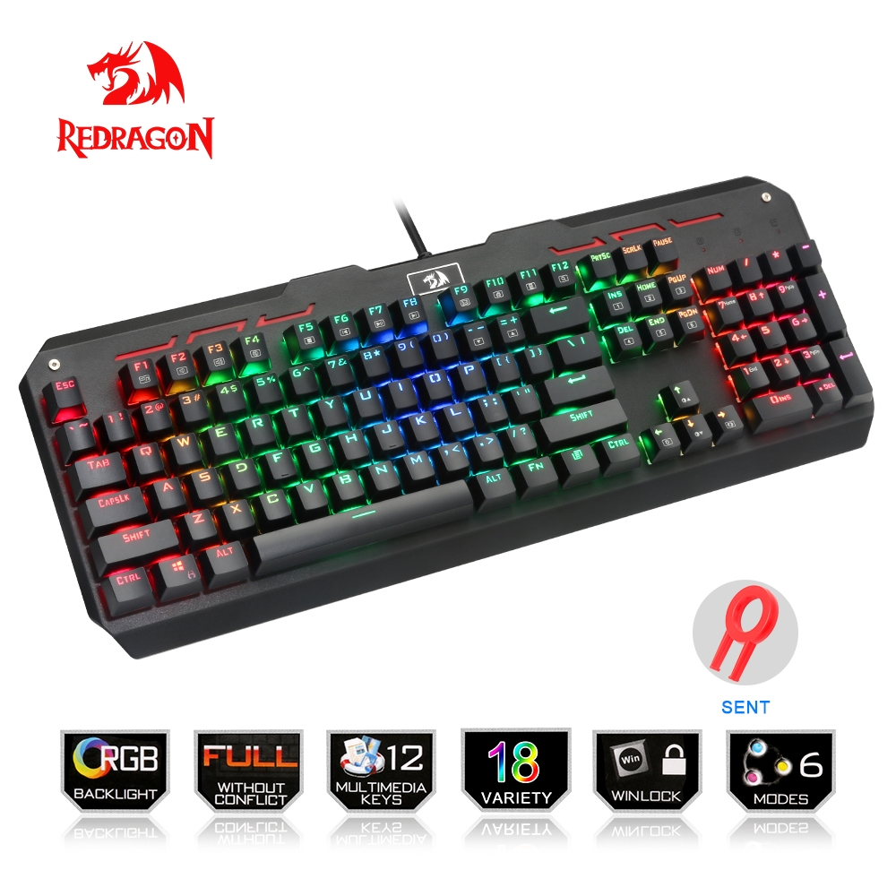 Redragon USB mechanical gaming keyboard ergonomic RGB LED backlit keys Full key anti-ghosting 104 wired Computer gamer K559RGB dareu ek815 104 keys gaming wired mechanical keyboard rgb led backlit anti ghosting usb powered for gamer computer