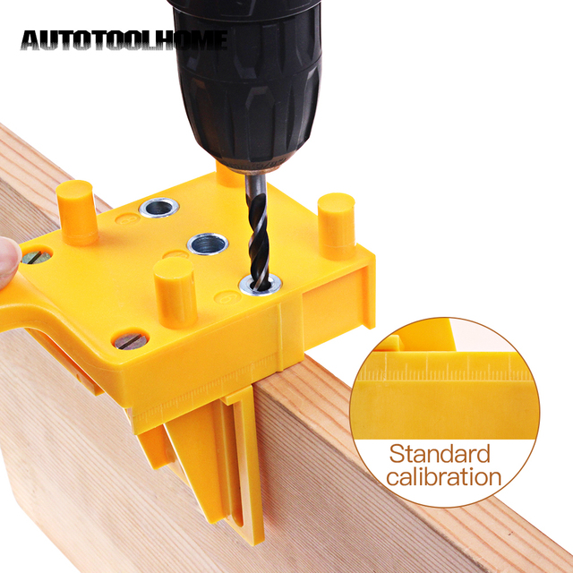 Herramientas de posicionamiento de la Guía de taladro de mano de carpintería para accesorios de sierra de perforación de pasador de madera se adapta a taladro de 6 8 10mm bits
