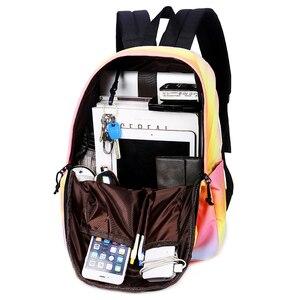 Image 4 - 2018 СКИОНЕ Цвет градиента    Школьные водонепроницаемые  многофунгционнальнные  рюкзаки для подростков  девочек  путешествий