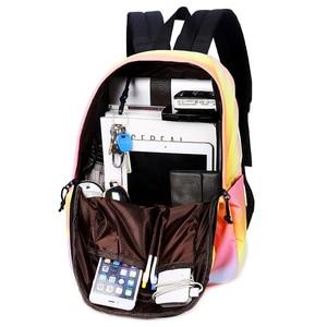 Image 4 - Scione Women Printing Backpacks Gradient Color School Bags For Teenage Girls School Shoulder Bags Waterproof Bookbag Mochila