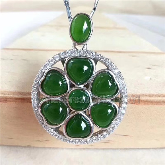 925 Sterling Silver Green HeTian Jade Heart Beads Inlay Round Elegant Lucky Pendant + Chain Necklace Fine Jewelry Charm Gift 925 silver natural white white hetian jade beads inlay flower dangle lucky pendant necklace ring elegant woman s jewelry set