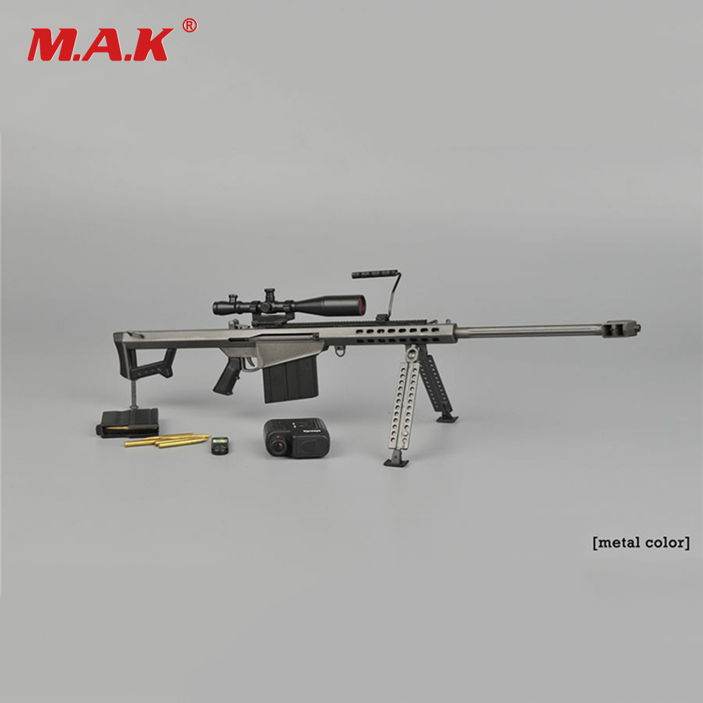 купить 1:6 Scale Soldier Action Figure Accessory Metal Color Sniper Rifle Gun Weapon Model for 12 inches Figure по цене 1484.36 рублей