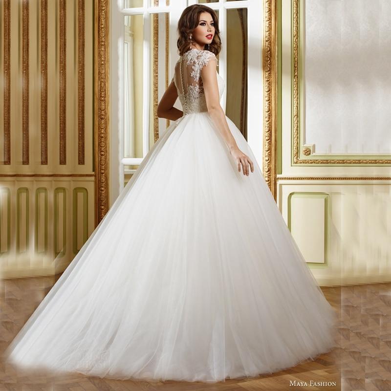 Boho Garden Lace Wedding Dresses Turkey 2017 Elegant Applique Sheer A Line  Tulle For Vestidos De Novia Bridal Gowns Maya Fashion-in Wedding Dresses  from ... bb260feafaeb