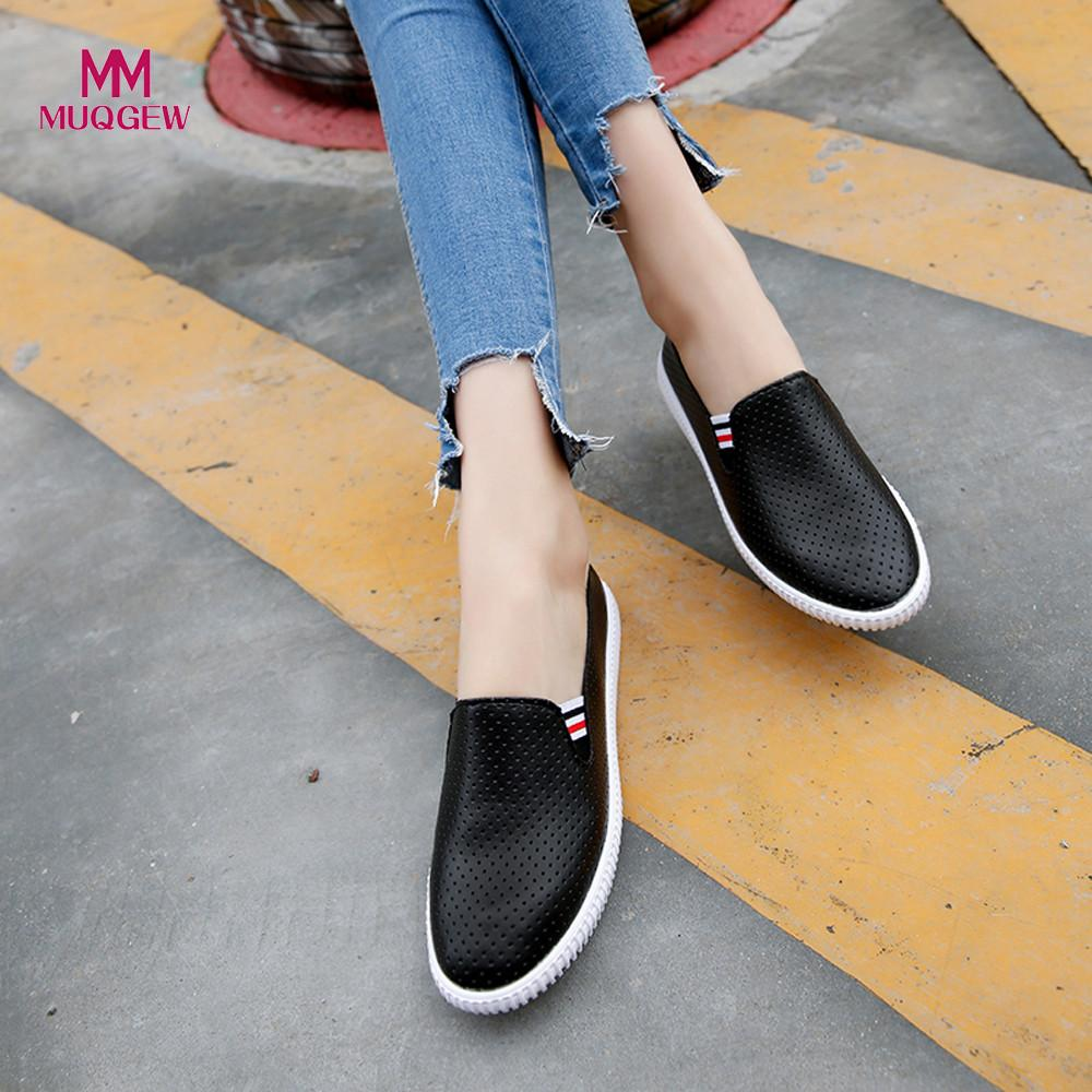 Ladies Flat Shoes Women Hollow Out Shoes Round Toe Platform Flat Heel Slip on Casual Shoes Breathable Lightweight Shoes summer air mesh women platform shoes 2018 brand harajuku women rubber flat shoes fashion breathable non slip casual ladies shoes