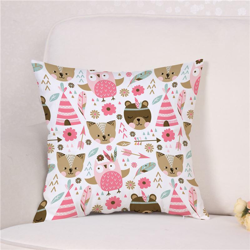 Cute Animals Baby Boy / Girl Style Pillow Cover Decorative Cushion Cover Soft Plush Cotton For Gift Capa De Almofada 45cm*45cm