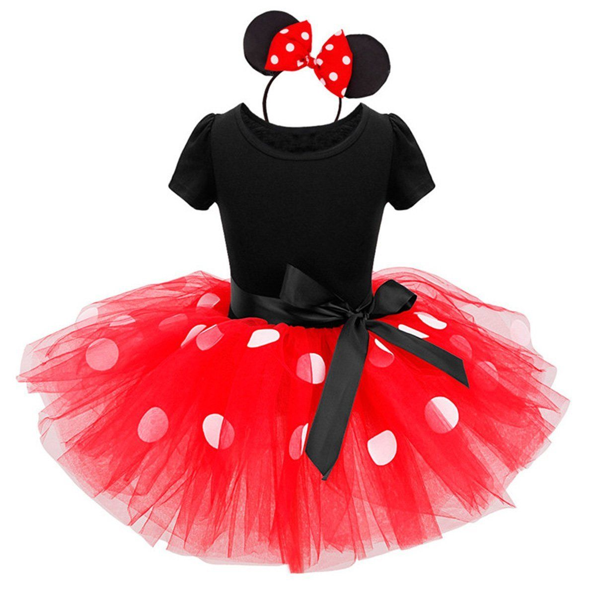 2PCS Kids Baby Girls Minnie style Princess Rabbit Ear Headwear Party Costume Cosplay 2Y-8Y Kid Girls Polka Dots Mesh Tutu Dress