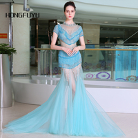 Real Photo O Cap Cổ Tay Áo Shining Tulle Mermaid Dài Prom Dresses 2018 Trong Suốt Backless Tầng Length Prom Dress A046
