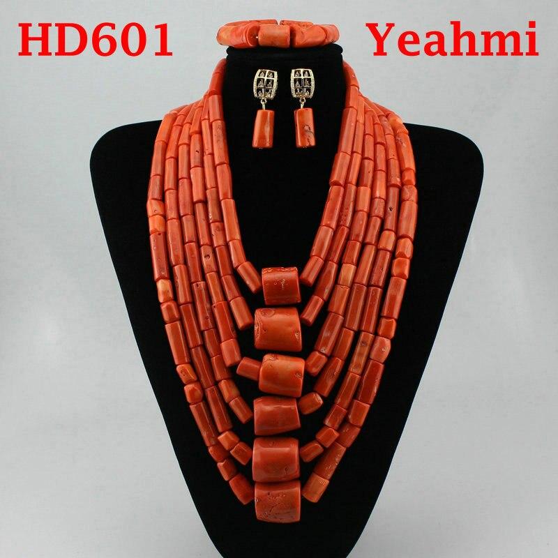 Incroyable réel grandes perles de corail ensemble de bijoux de mariage africain nigérian femmes Costume de mariée corail or déclaration collier ensemble HD602 - 2