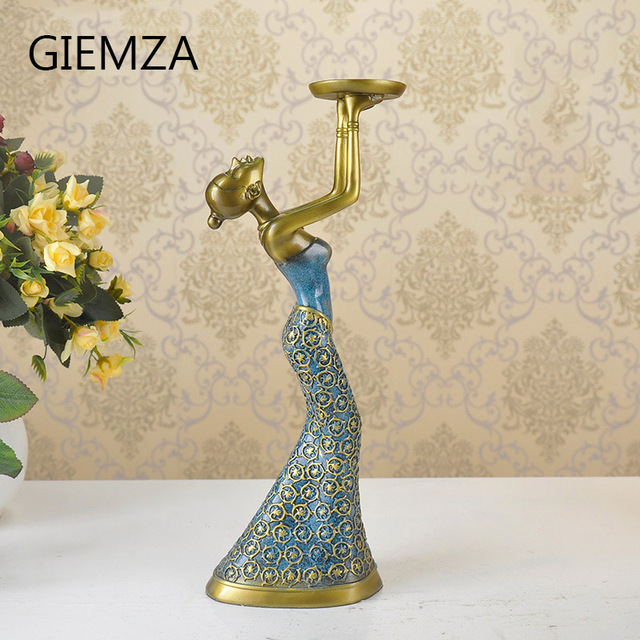 GIEMZA European Art Ornaments, Candlesticks Luxurious Decorations, Living Room Fashion Candlestick home Decoration Candle Holder