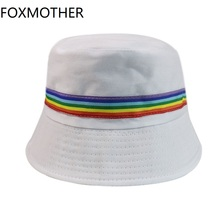 FOXMOTHER New Women Bucket Hats Black White Solid Color Rainbow Fisherman 2019