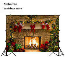Mehofoto 7x5ft Christmas Photography Backdrops Child Christmas Fireplace Decoration Background for Photo Studio for Picture 164