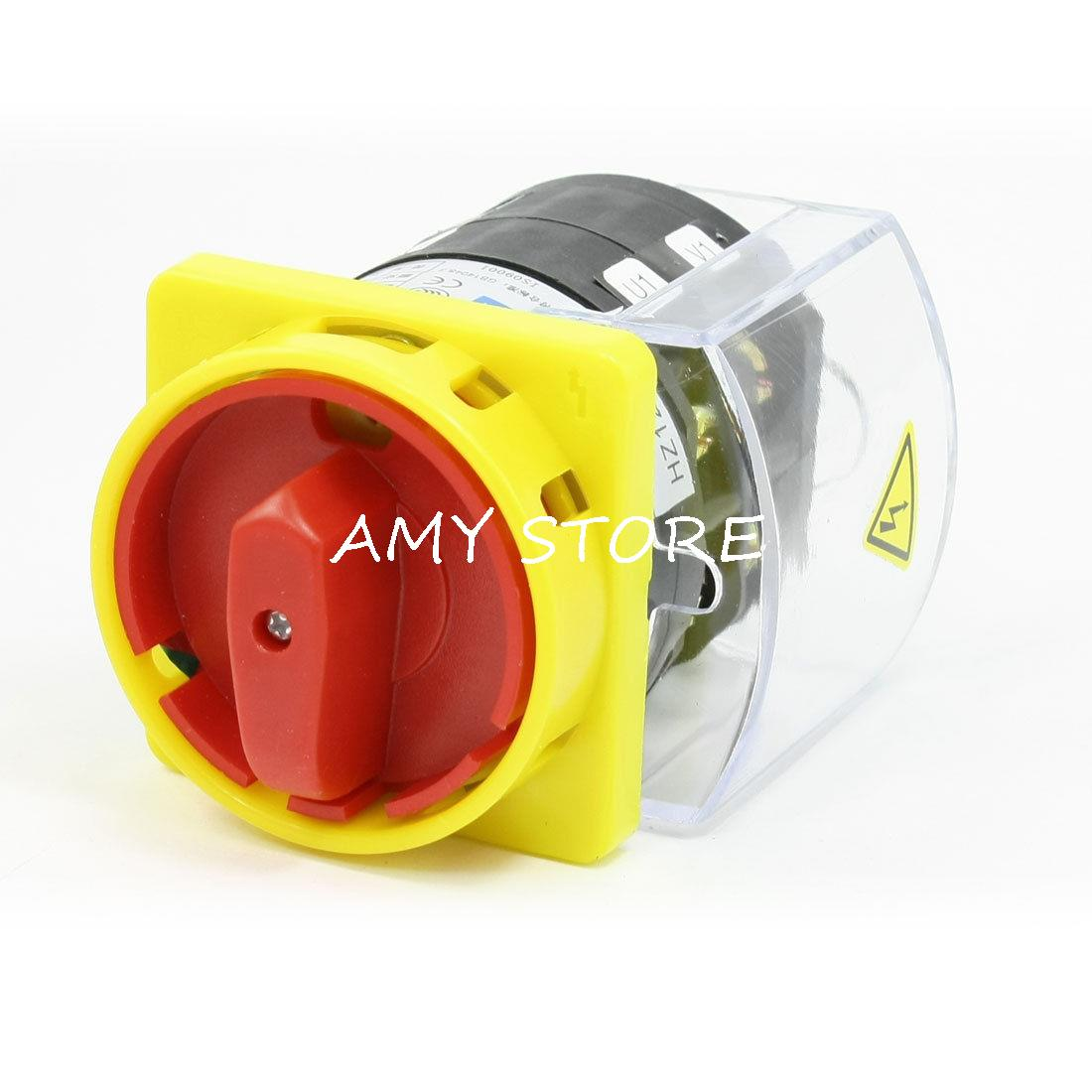цена на Clear Shell Locking 0-1 Position Cam Combination Changeover Switch AC 500V 25A