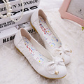 Hot Sale 2016 Women's Flat Pink Shoes  Bowtie Sweet Breathable Ballet Flat Shoes Women Loafers Mother Shoe Calzado Mujer