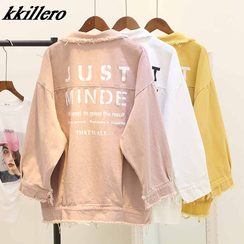 Casual Button Denim   Jacket   Without Skirt 2019 Spring and autumn Women   Basic     Jacket   Long Sleeve Streetwear Girls   Jacket   Coat