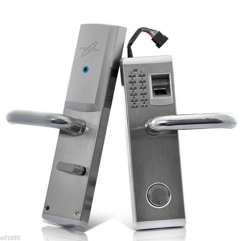 Biometric Electronic Door Lock Fingerprint, Password, Mechanical Key Digital Code Keyless Lock Stainless Steel lk902FS