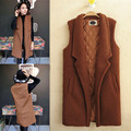 Female autumn and winter thickening medium-long plus velvet berber fleece cotton-padded vest  spring female outerwear