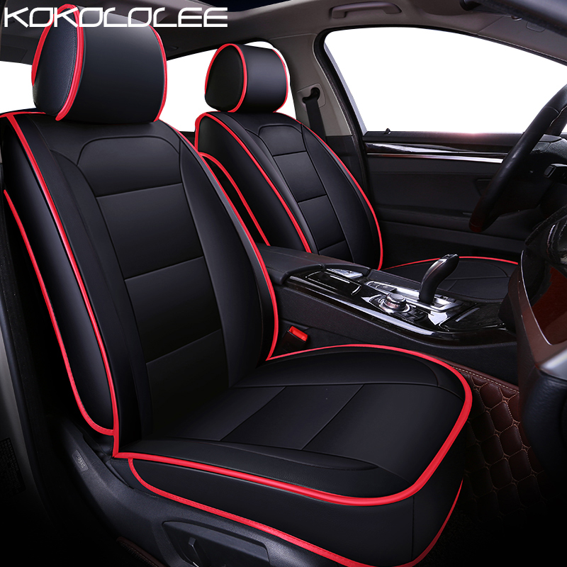KOKOLOLEE Pu Leather Car Seat Cover For Citroen All Models C4 C5 C2 C3 Drain BLACK
