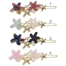 Japanese Acetic Acid Contrast Color Star Hair Clip Women Girls Glitter Faux Pearl Frog Bobby Pins Drop Oil Metallic Barrettes lace contrast faux pearl self tie top