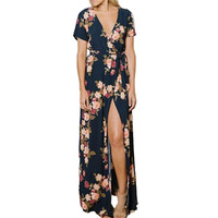 New 2017 Women Summer Kimono Slash Wraps Long Dress Sexy V Neck Short Sleeve Floral Print