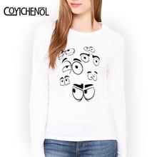 Long sleeve Modal T-shirt women funny design eyes printed tops O-neck casual cartoon tees homme COYICHENOL