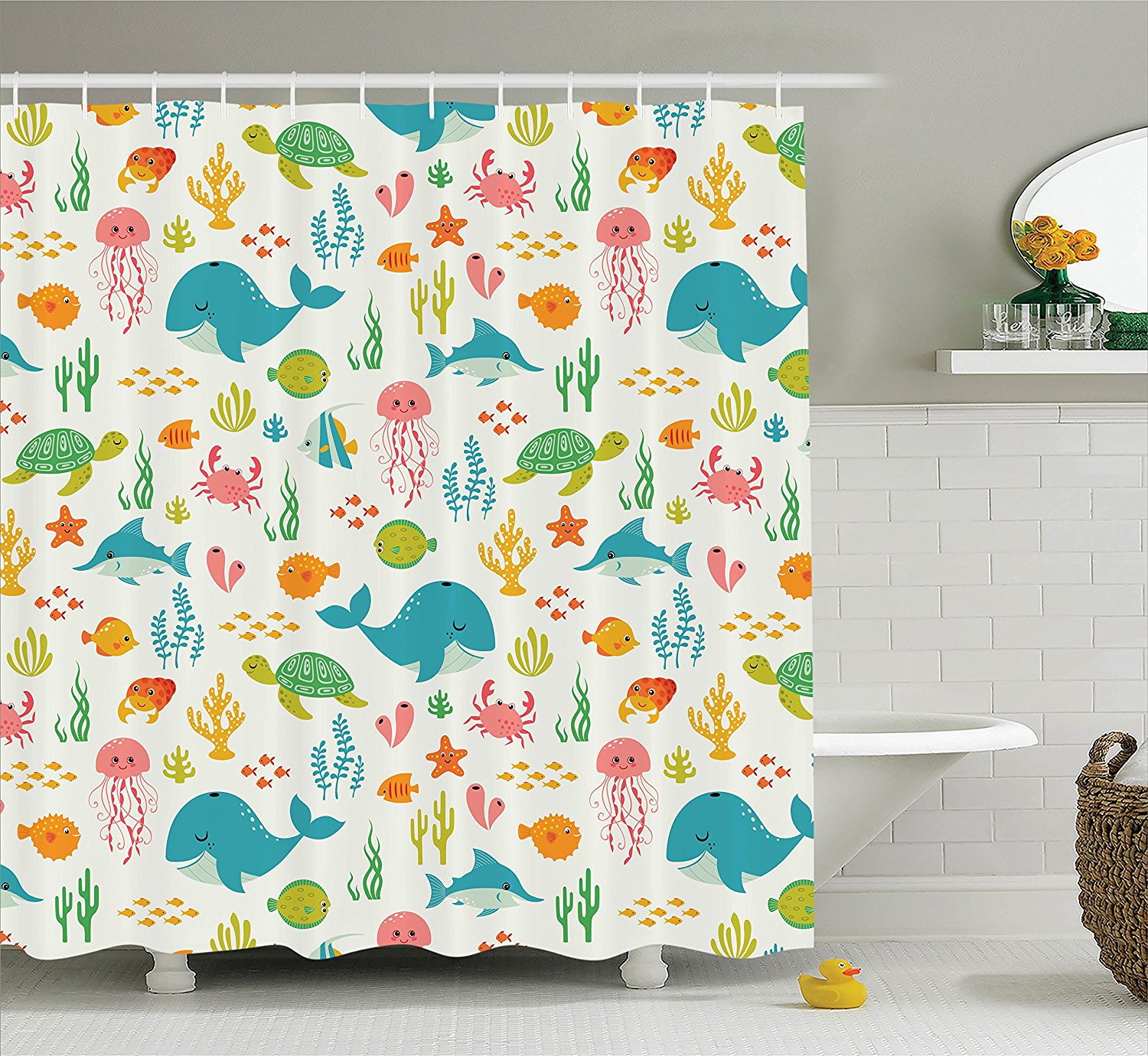 Memory Home Underwater Animals Aquatic Marine Life With Crabs Sea Stars  Fish Polyester Fabric Bathroom Shower