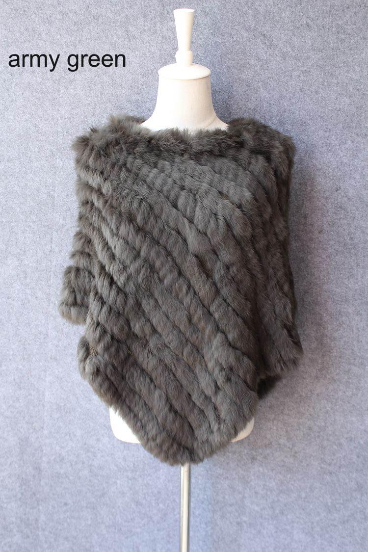 Otoño Invierno Señoras Genuinas Poncho 100% real de piel de conejo - Accesorios para la ropa - foto 5