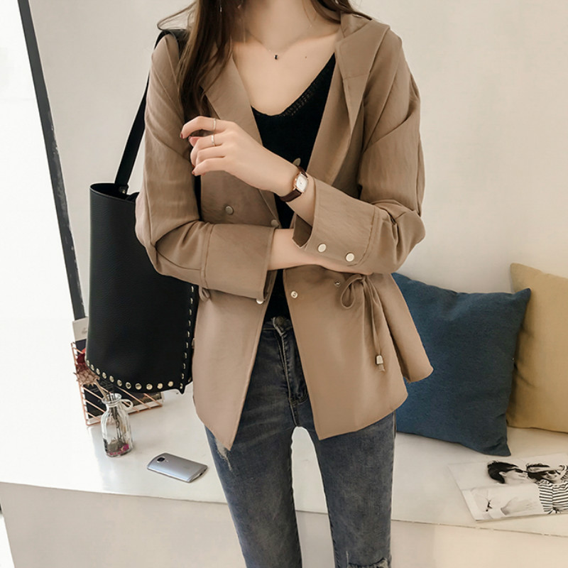 Loose Hooded Long Sleeve Women Trench Coat 1