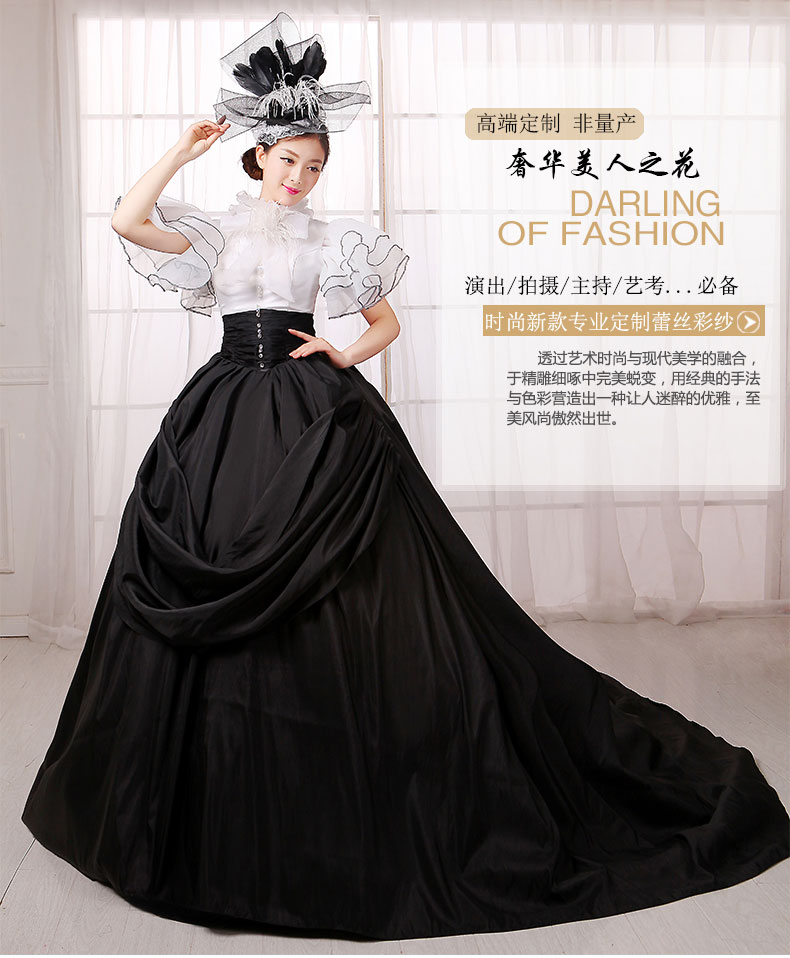 Black Court White Ruffled Erfly Sleeve Ball Gown Meval Renaissance Queen Cos Victorian Dress Antoinette Belle In Holidays Costumes From