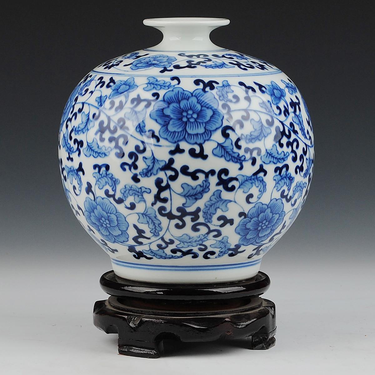 Ceramics blue and white porcelain glaze pomegranate vase decoration fashion home decoration crafts