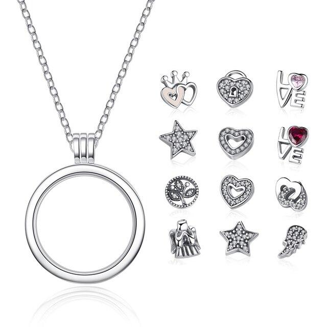 BAMOER Подлинная 925 пробы серебро Medium Petite воспоминания подвешиваемый кулон ожерелья и подвески стерлингов серебряные ювелирные изделия PSF001