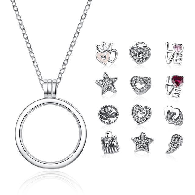 Bamoer genuine 925 sterling silver medium petite memories floating bamoer genuine 925 sterling silver medium petite memories floating locket necklaces pendants sterling silver jewelry mozeypictures Images