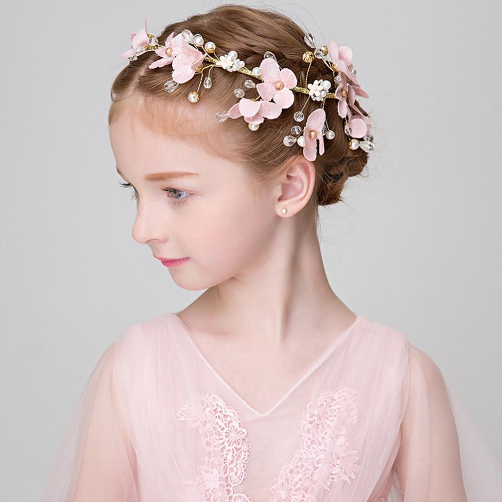 Girls Princess Pink Headband Fabric Flower Hair Ornament Beaded Headpiece for Party Prom Hairwear Flower Girl Headdress Handmade headpiece