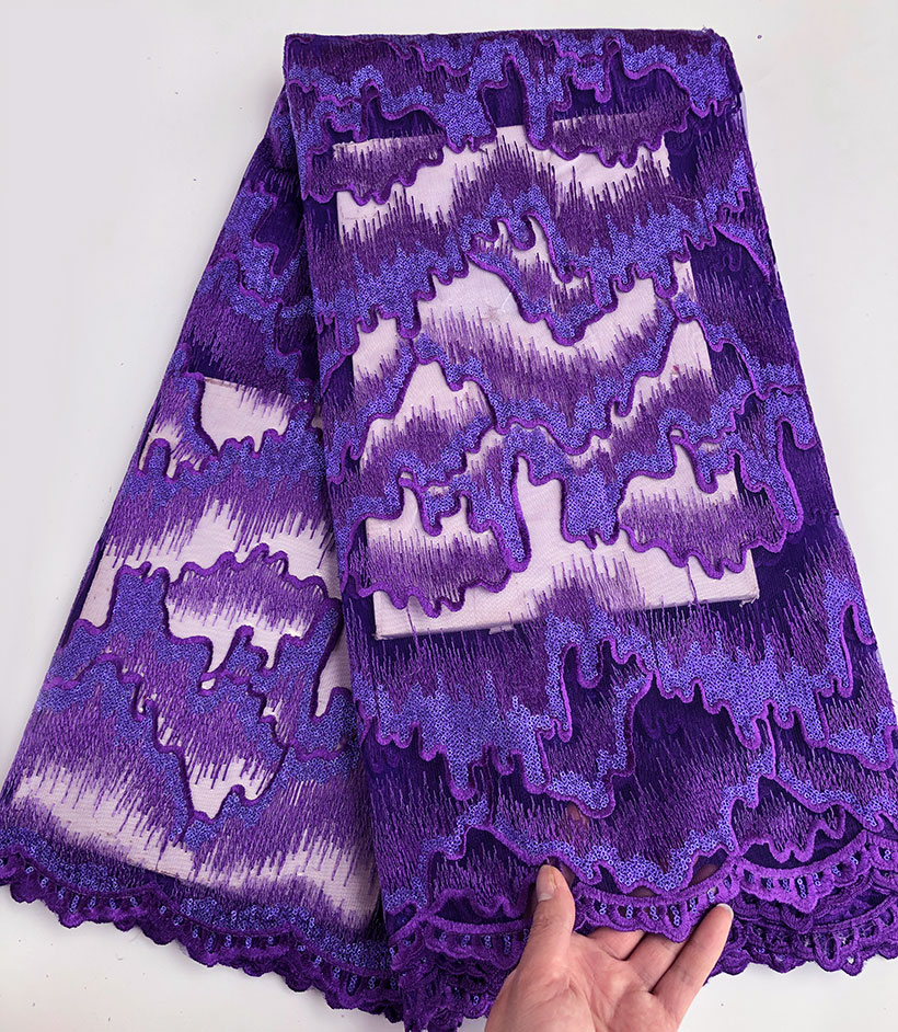 Lots of sequins purple African french lace circuitous embroidery Swiss tulle lace fabric High quality 5