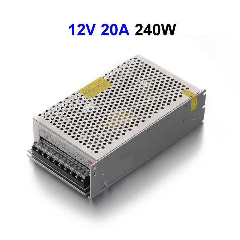 5pcs DC12V 20A 240W Switching Power Supply Adapter Driver Transformer For 5050 5730 5630 3528 LED Rigid Strip Light 90w led driver dc40v 2 7a high power led driver for flood light street light ip65 constant current drive power supply
