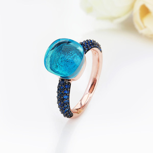 Image 5 - FORIS Rose Gold Color With Black Plated Blue Zircon Wedding Rings for Women Girls Austrian Crystal Bague Femme 14 Colors