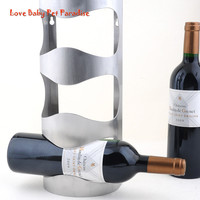Home Decoration Creative Packaging 3 Bottles Support Stainless Steel Wine Bottle Holder Rack Shelf For Home