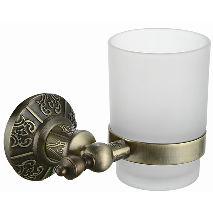 Free Shipping Single Tumbler Holder,Toothbrush Cup Holder,Brass holder Antique Bronze finish+glasss cup AB001a