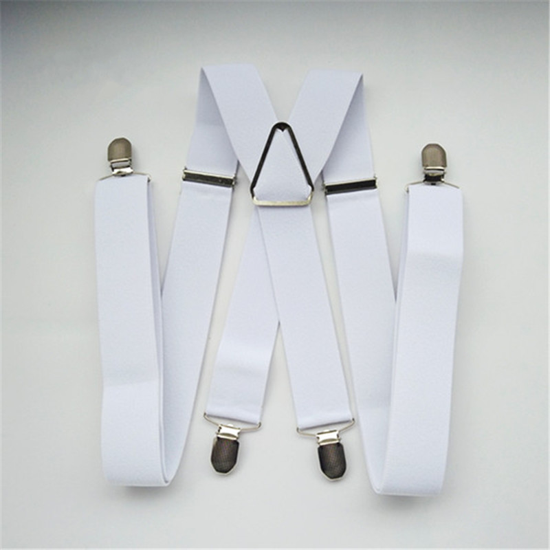 BD054-L XL XXL Size White 3.5 Width Suspender For Adult Adjustable Elastic X Back Pants Braces For Men And Women Clips On