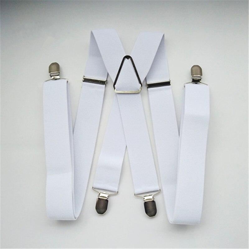 BD054-L tamanho XL XXL Branco 3.5 largura suspender para Adulto elástica ajustável X voltar calças suspensórios para os homens e mulheres clips em