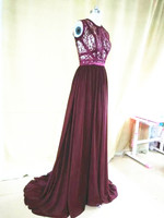 Real Image New Arrival A Line Chiffon 2016 Lace Evening Dress O Neck Long Formal Gowns robe de soiree with Sweep Train