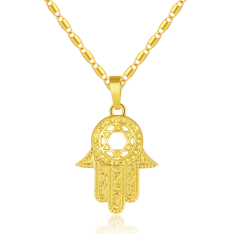 New Trendy Magen Star of David Israel Hamsa Hand Pendant Necklaces for Men women Gold color Amulet Hand of Miriam Jewelry Bijoux in Pendant Necklaces from Jewelry Accessories