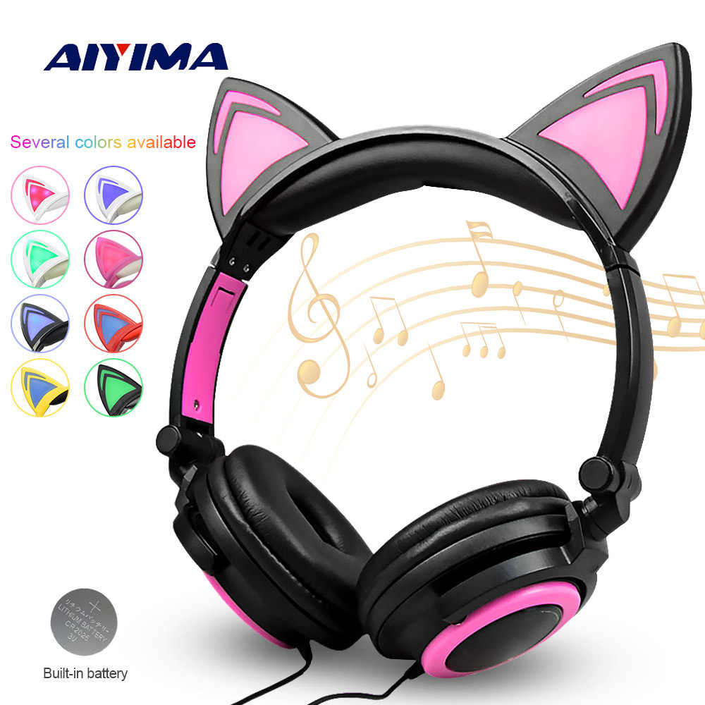 8dbc4361eca AIYIMA Foldable Flashing Earphone Cat Ear Headphones Gaming Headset With  LED Light For Mobile Phone Pad